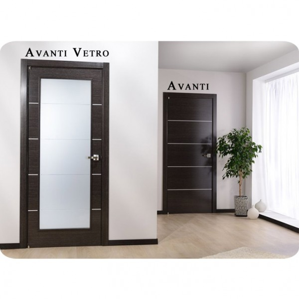Arazzinni Avanti Vetro Interior Door in a Black Apricot Finish with Silver Strips and Frosted Glass 1
