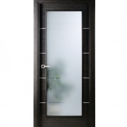 Arazzinni Avanti Vetro Interior Door in a Black Apricot Finish with Silver Strips and Frosted Glass
