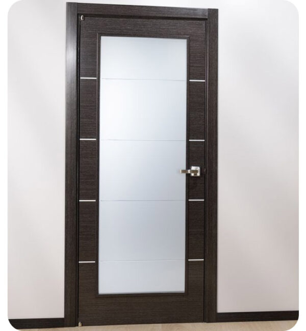Arazzinni Avanti Vetro Interior Door in a Black Apricot Finish with Silver Strips and Frosted Glass 2