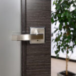Arazzinni Avanti Vetro Interior Door in a Black Apricot Finish with Silver Strips and Frosted Glass 3
