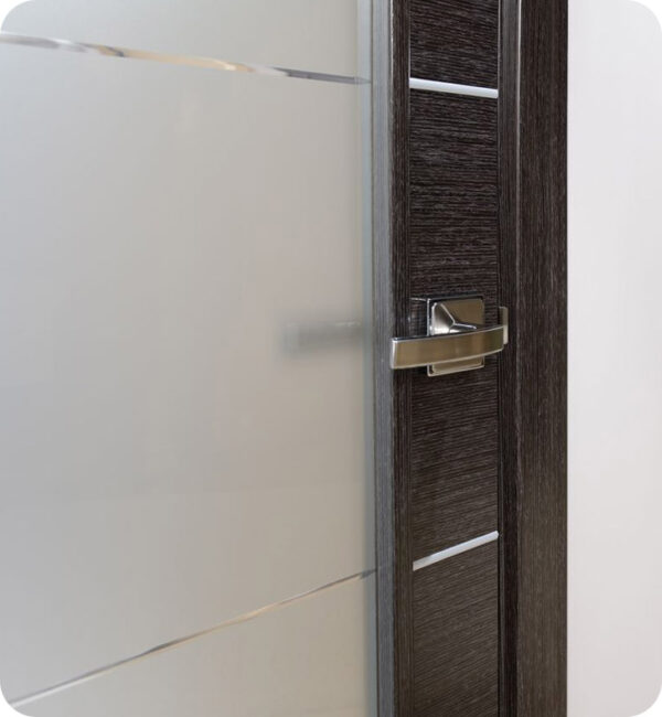 Arazzinni Avanti Vetro Interior Door in a Black Apricot Finish with Silver Strips and Frosted Glass 4