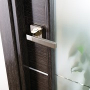 Arazzinni Avanti Vetro Interior Door in a Black Apricot Finish with Silver Strips and Frosted Glass 5
