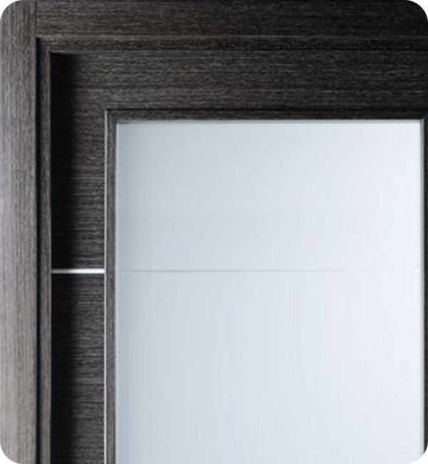 Arazzinni Avanti Vetro Interior Door in a Black Apricot Finish with Silver Strips and Frosted Glass 6