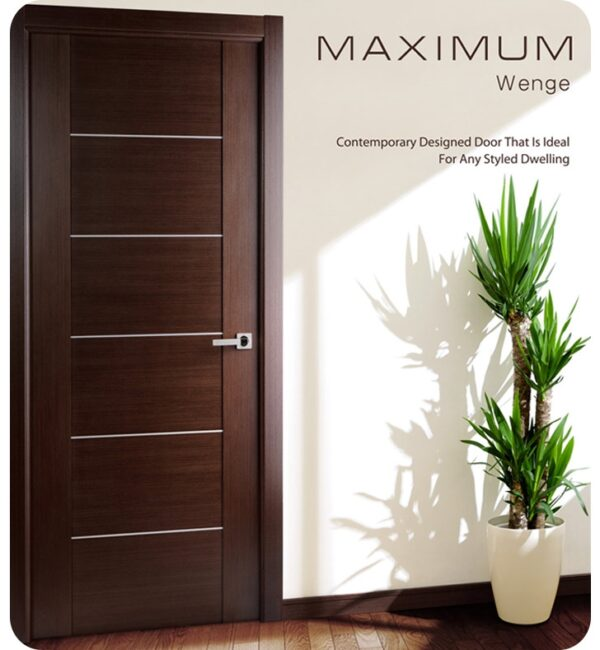 Arazzinni Maximum 201 Interior Door in a Wenge Finish with Aluminum Strips 1