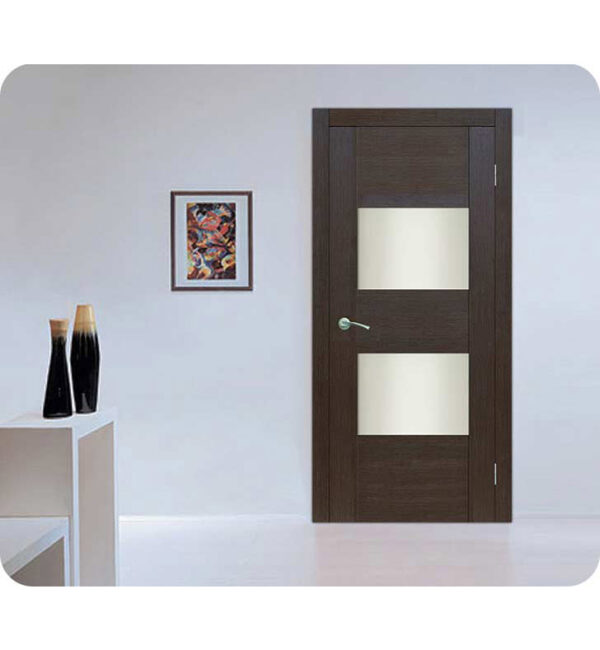 Arazzinni Maximum 204 Interior Door in a Wenge Finish with Frosted Glass Panels 1