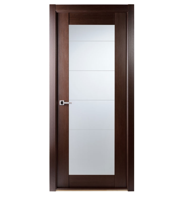 Aries Mia Ag104 Interior Door In A Wenge Finish With Frosted Glass Aries Interior Doors