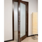 Arazzinni Mia Vetro Interior Door in a Wenge Finish with Silver Strips and Frosted Glass 1