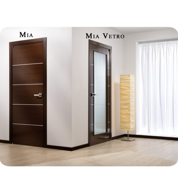 Arazzinni Mia Vetro Interior Door in a Wenge Finish with Silver Strips and Frosted Glass 2