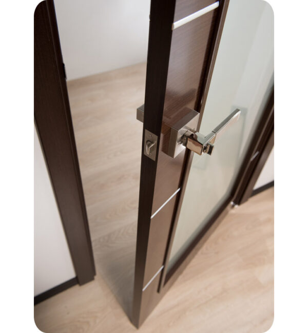 Arazzinni Mia Vetro Interior Door in a Wenge Finish with Silver Strips and Frosted Glass 4