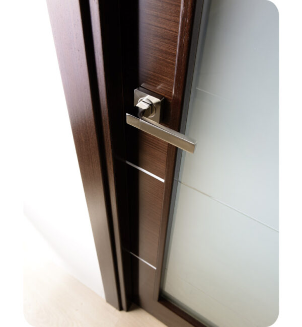 Arazzinni Mia Vetro Interior Door in a Wenge Finish with Silver Strips and Frosted Glass 6