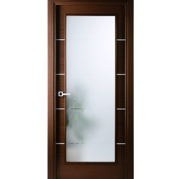 Arazzinni Mia Vetro Interior Door in a Wenge Finish with Silver Strips and Frosted Glass