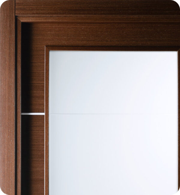 Arazzinni Mia Vetro Interior Door in a Wenge Finish with Silver Strips and Frosted Glass 8