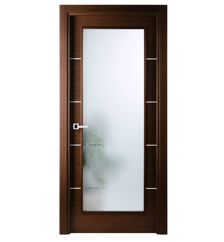 Aries Mia Ag101 Interior Door In A Wenge Finish With Frosted Glass Aries Interior Doors