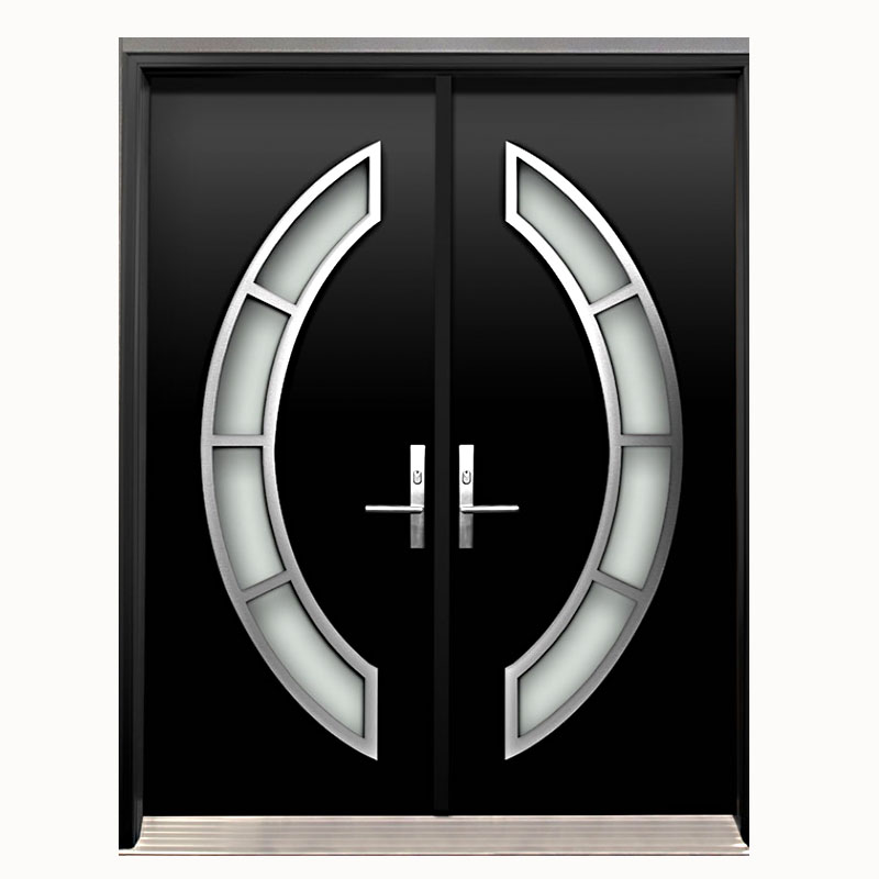 Aries Interior Double Door In A Black Solid Wood Aries