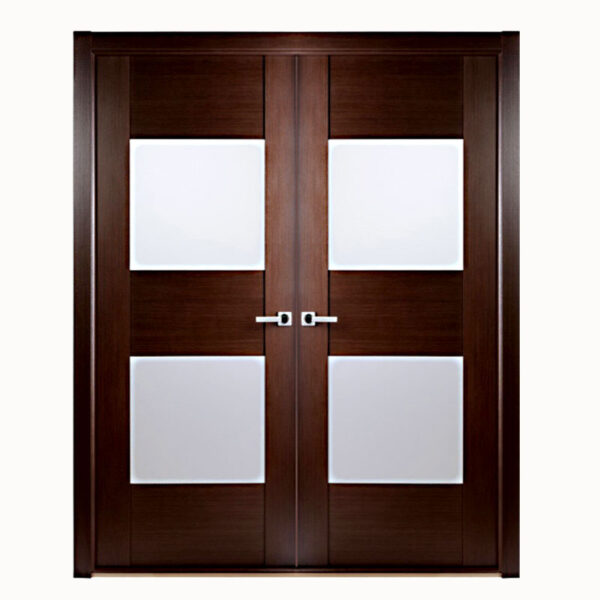 Aries–Interior-Double-Door-in-a-Wenge-Finish-with–Glass-Panels