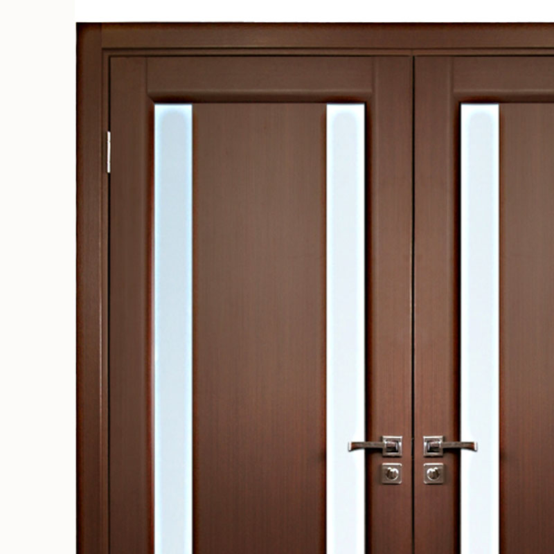 Aries Interior Double Door in a Wenge Finish with Glass Strip (1 1/2  MDF Thermofoil veneer ColorCherry) - Aries Interior Doors & Aries Interior Double Door in a Wenge Finish with Glass Strip (1 1/2 ...