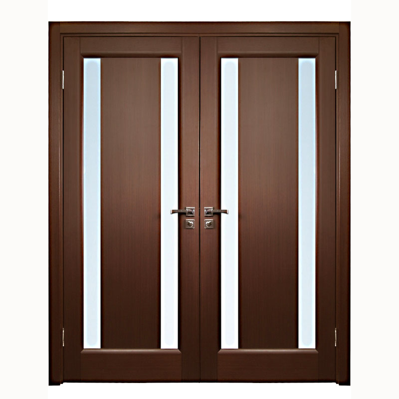 Aries Interior Double Door In A Wenge Finish With Glass Strip 1 1 2 Mdf Thermofoil Veneer