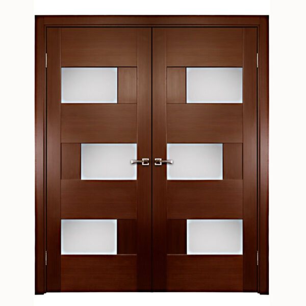 Aries Interior Double Door With Glass Panels 1 1 2 Quot Mdf