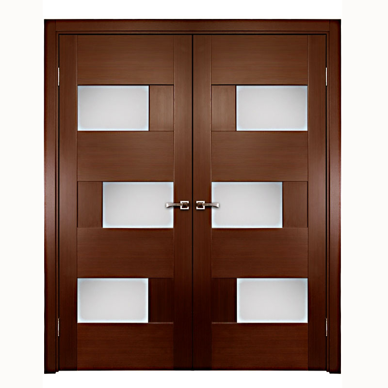 Aries interior double door with glass panels 1 1 2 mdf for Double glazed glass panels