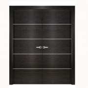 Aries Double Door Black Apricot Finish Silver Strips