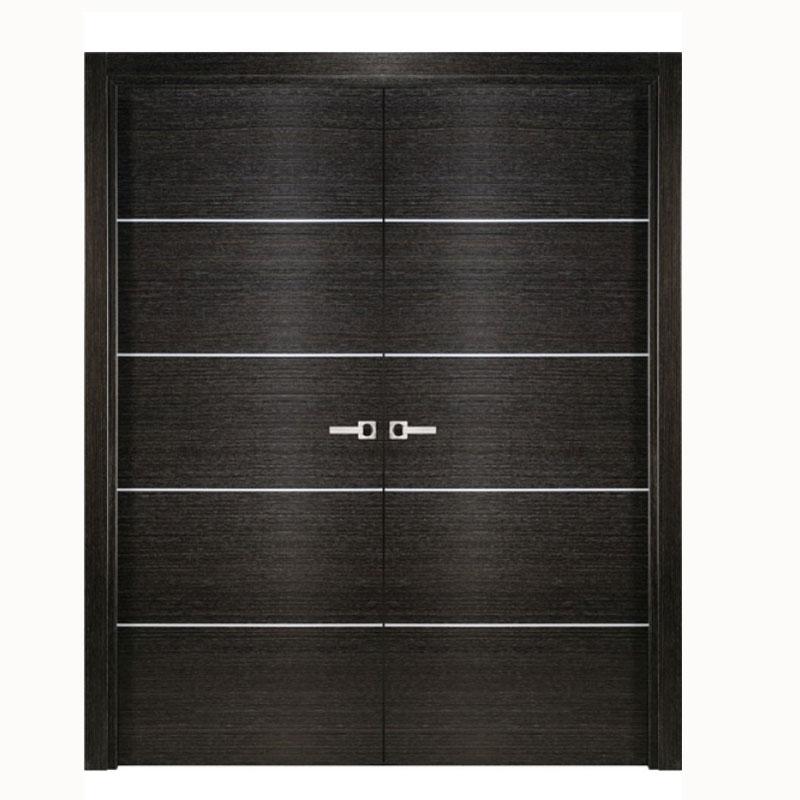 Aries Double Door Black Apricot Finish Silver Strips Aries Interior Doors