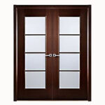 Aries-Mia–Interior-Double–Door-in-a-Wenge-Finish-with-Frosted-Glass-Panels