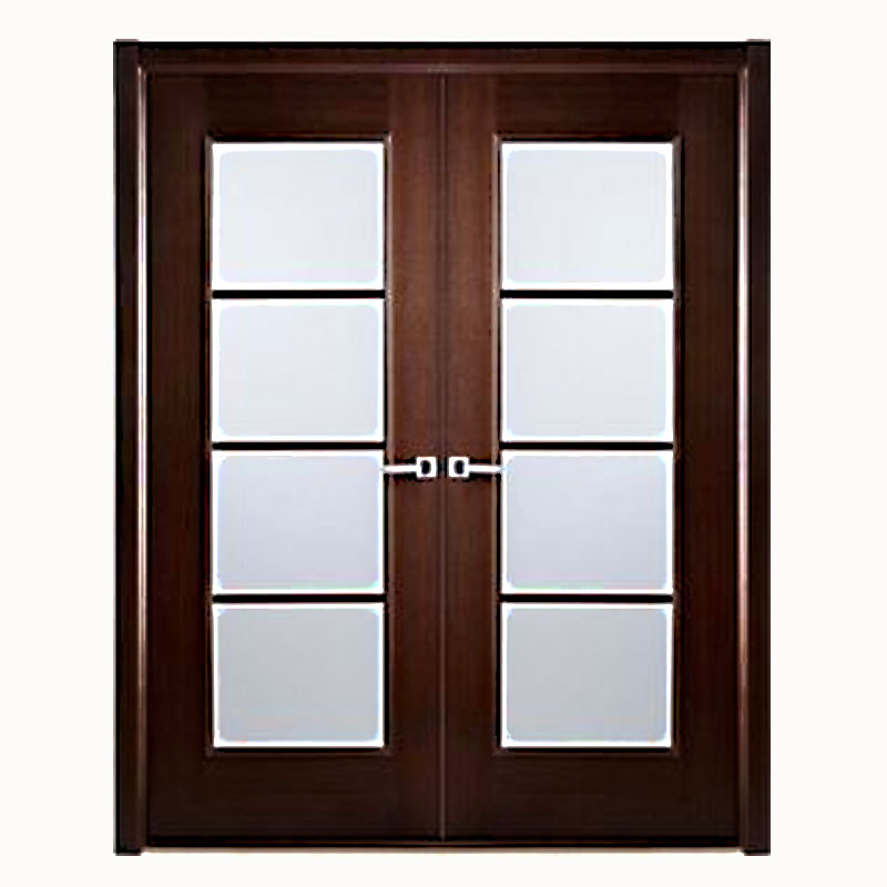 Aries Mia Interior Double Door In A Wenge Finish With Frosted Glass Panels 1 1 2 Mdf