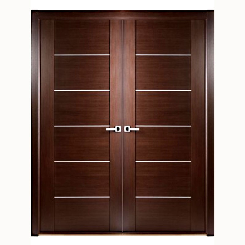 Aries Mia Interior Double Door In A Wenge Finish With Stainless Steel Strip Aries Interior Doors