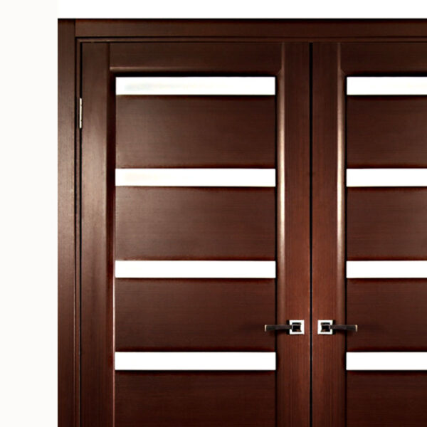 Aries Modern Interior Double Door With Glass Mdf Thermofoil Veneer