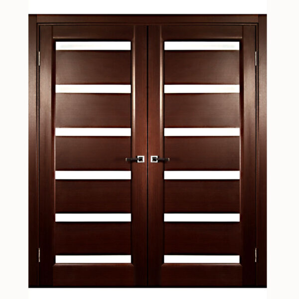 Aries Modern Interior Double Door With Glass Mdf Thermofoil Veneer Color Brown Aries
