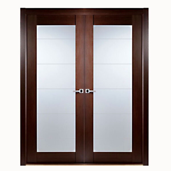 Aries Modern Interior Double Door With Glass Panels