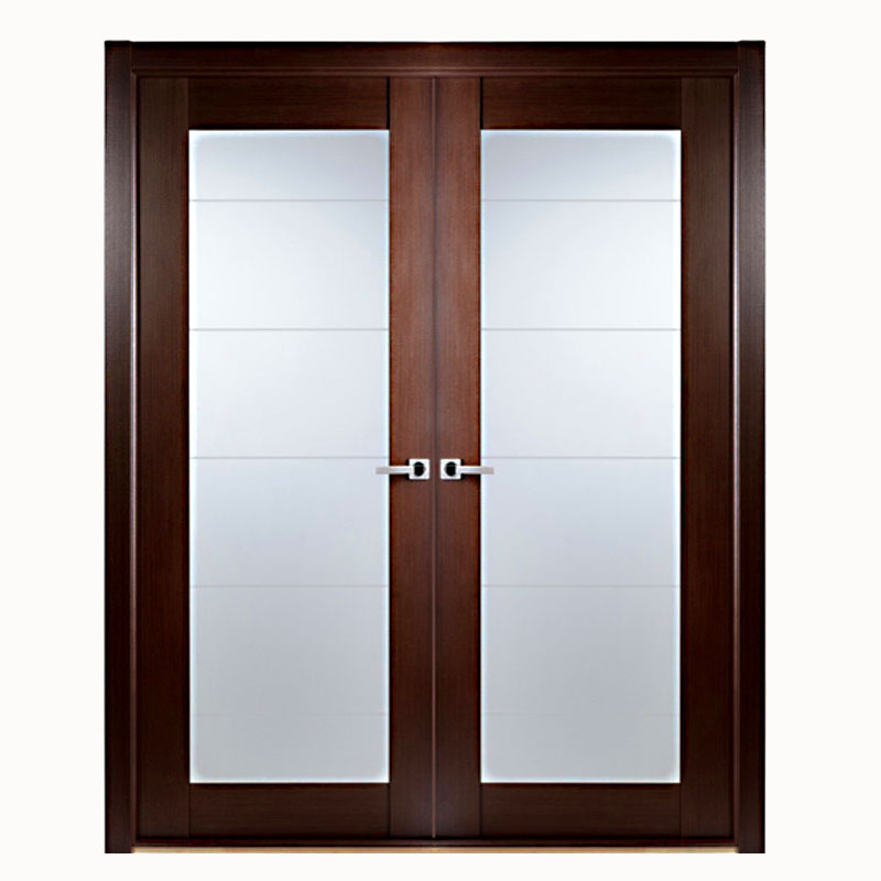 Aries modern interior double door with glass panels for Double glazed glass panels