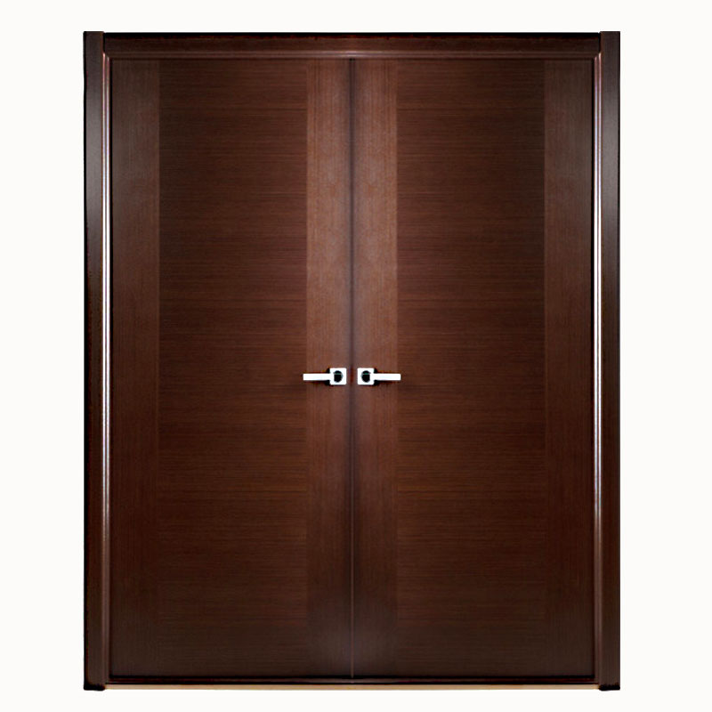 Aries modern interior double door semi solid wood and for Interior double doors
